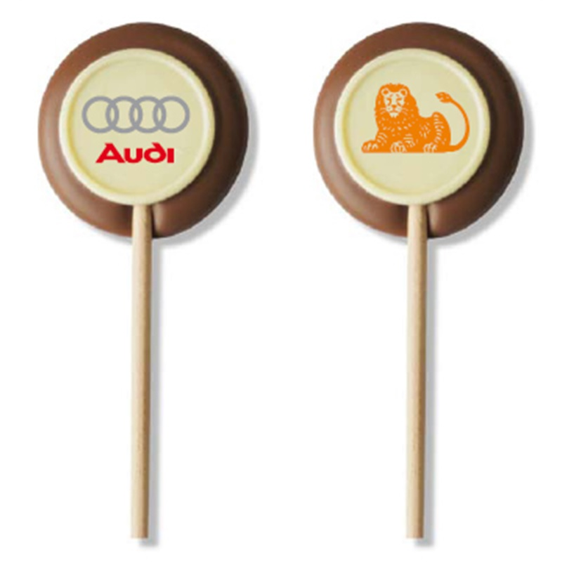 CHOCOLADE LOGO LOLLY Bedrukte chocolade lolly