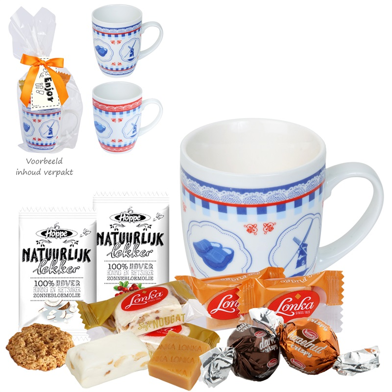 DUTCH COFFEE BIG Relatiegeschenk -  Keramiek mokje met o.a. fudge en nougat