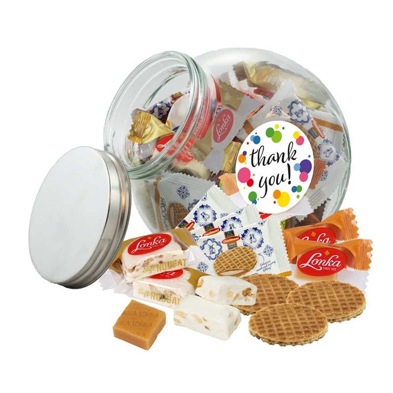 THANK YOU POT 1600 ML Voorraadpot 1600 ml met fudge, nougat en stroopwafeltjes