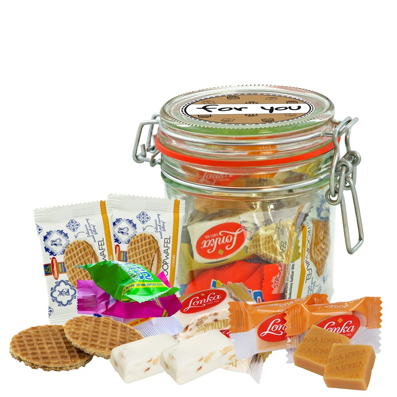 FOR YOU WECKPOT 530 ML Weckpot gevuld met o.a Tiny Tony's, fudge, nougat en stroopwafeltjes