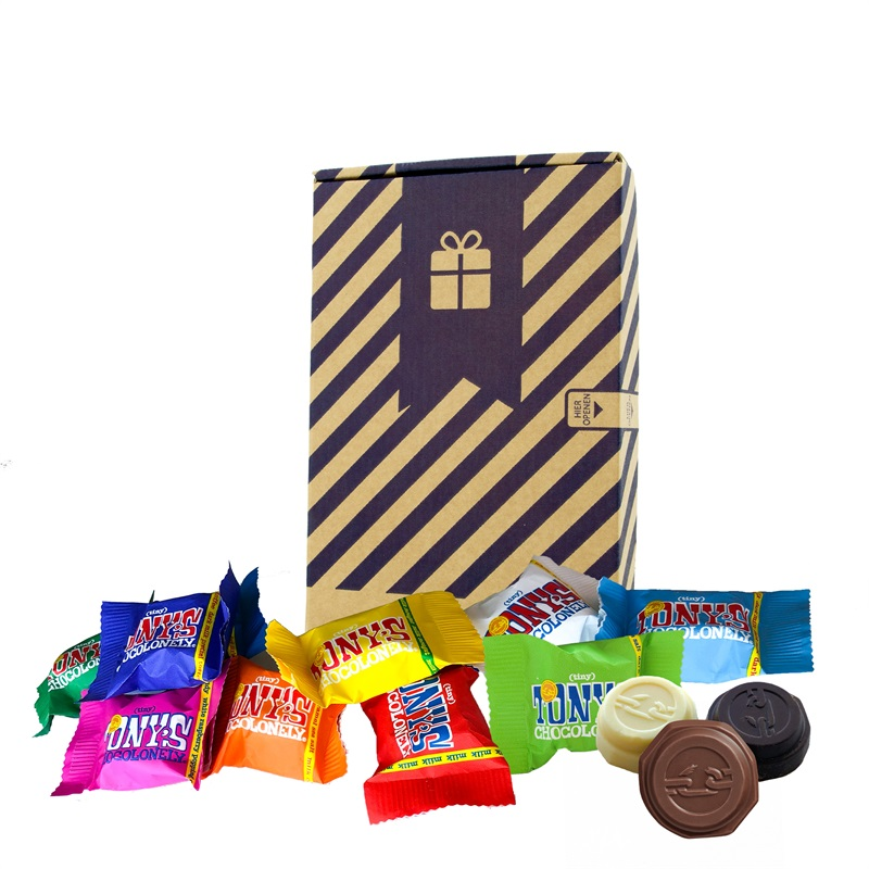 TINY TONY HOME Tony's Chocolonely in een brievenbusverzenddoosje - Relatiegeschenk
