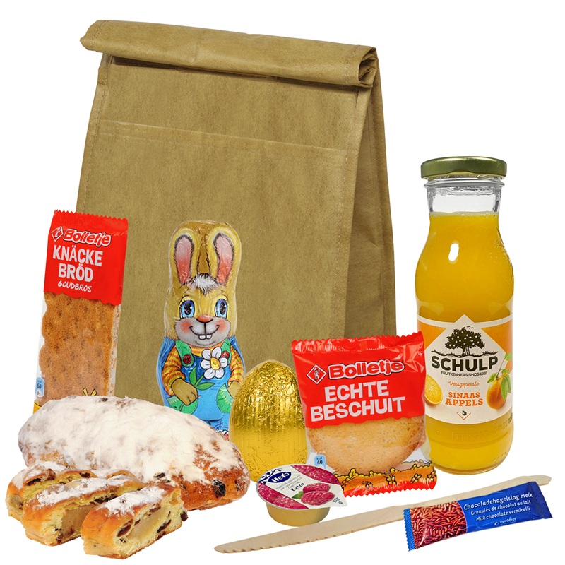 EASTER BRUNCH BAG Papierlook koeltasje met o.a. Paasstolletje- Paaspakket